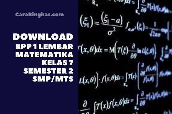 RPP 1 Lembar Matematika Kelas 7