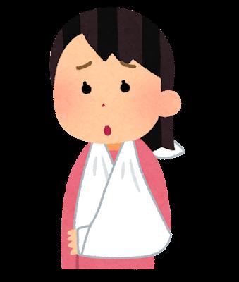三角巾で腕をつる人のイラスト(女性)