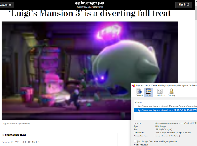 The Washington Post Luigi's Mansion 3 review blurry banner picture fake news
