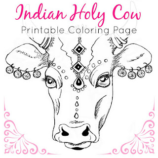 Indian Bollywood Cow Printable Coloring Page