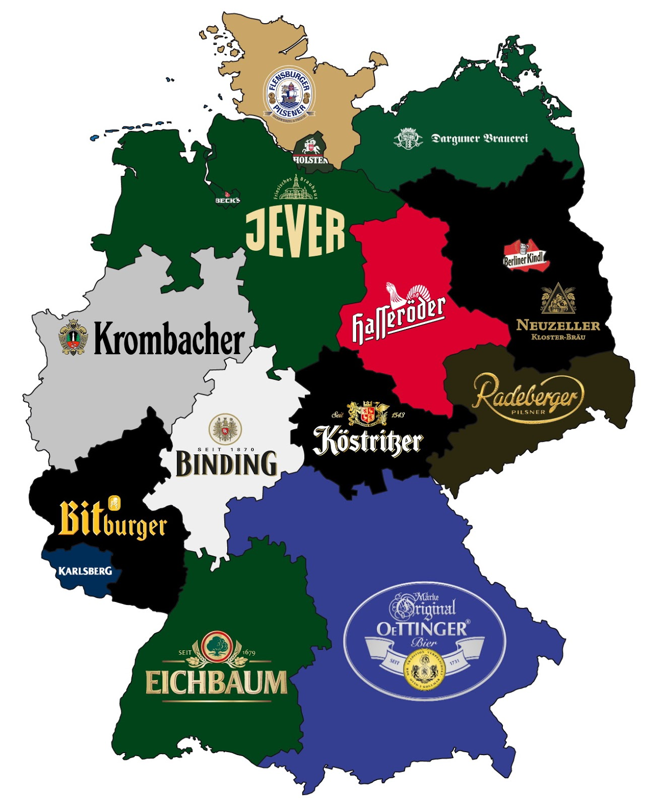 Most popular beer brand by German state