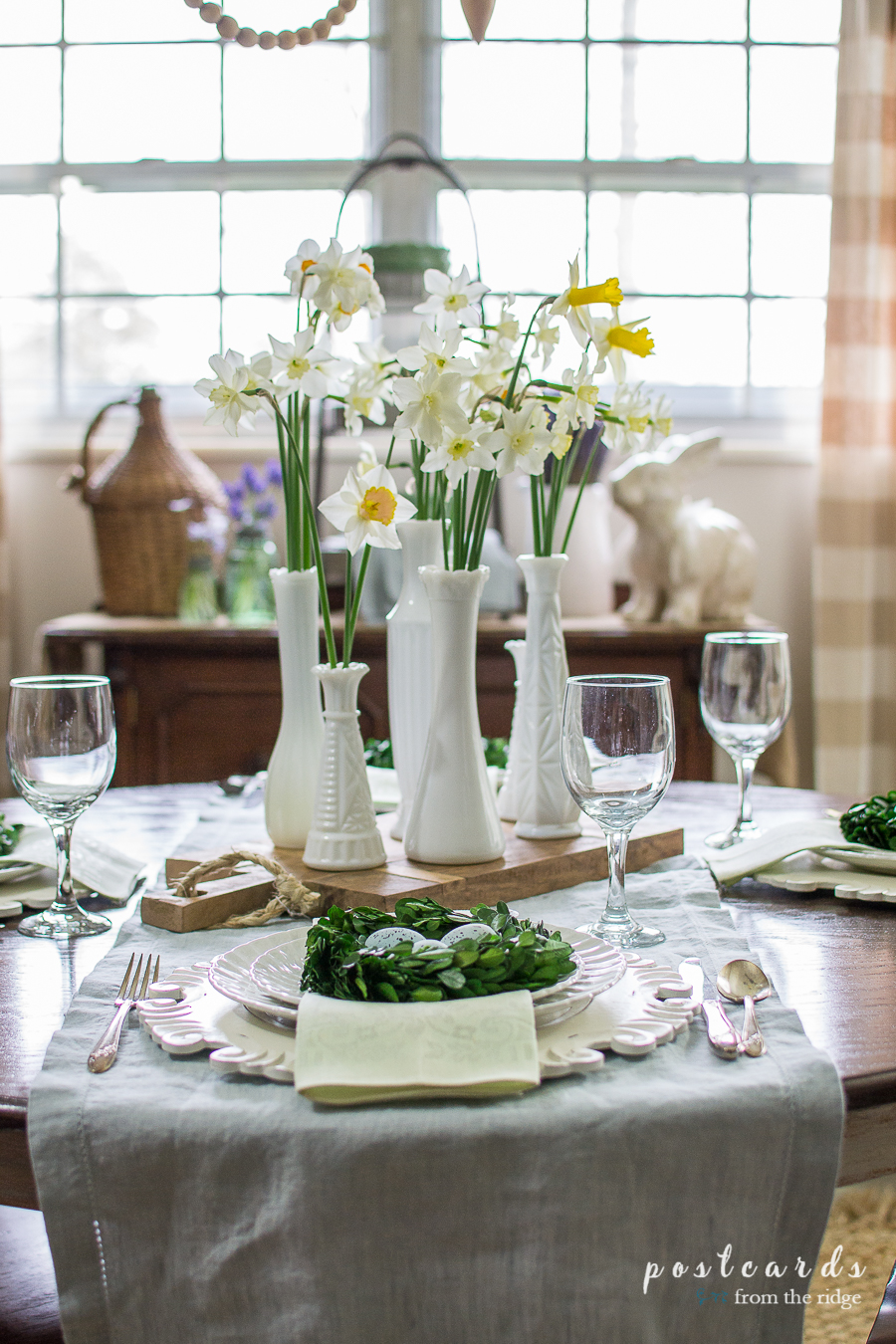Spring Tablescape And Decorating Ideas. Vintage Milk Glass Vases On With  Narcissus On A Spring Table