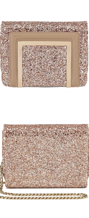 Jimmy Choo Ava Nude Shadow Coarse Glitter Mini Bag