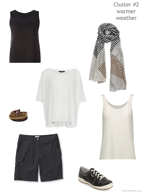 a travel wardrobe cluster for warmer weather, in black and ivory