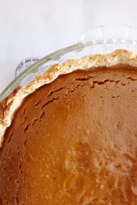 close up of pumpkin pie edge