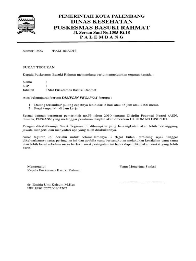 Contoh Surat Teguran Pns yang melanggar