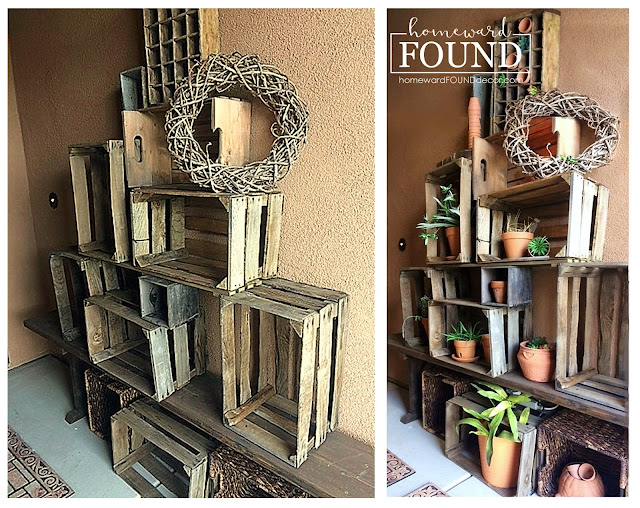 decorating, DIY, diy decorating, farmhouse style, garden, garden art, inspiration, junk makeover, neutrals, on the porch, re-purposing, rustic, rustic style, salvaged, summer, trash to treasure, wood crate decor, front porch decor, succulents