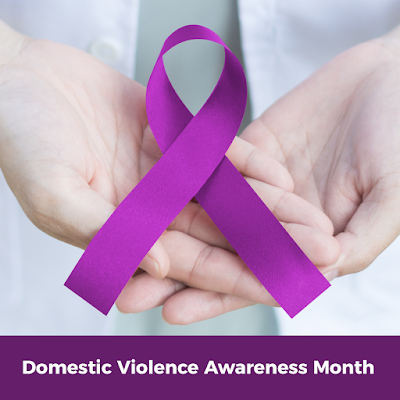 Graphic of a purple ribbon sitting in the palm of someones hands.