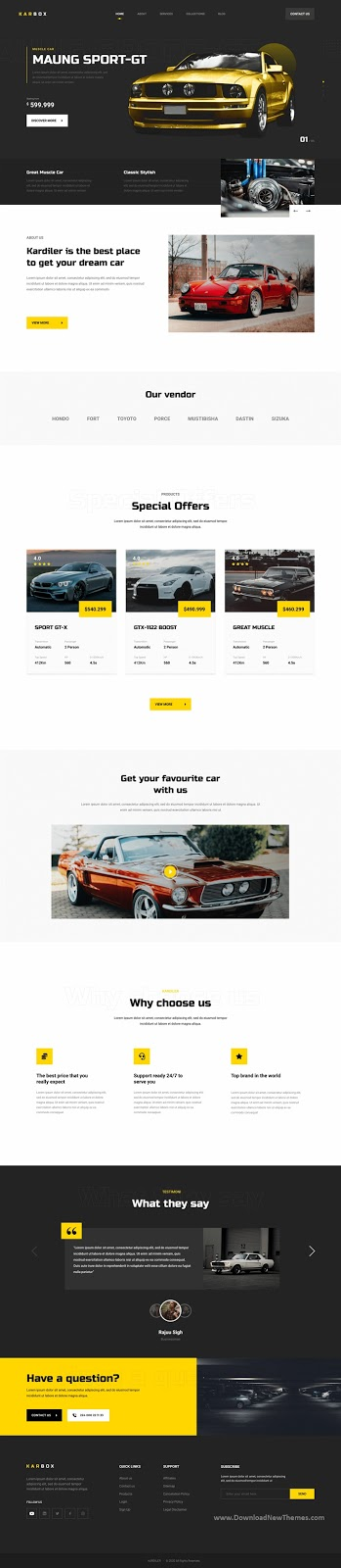 Download Car Dealer Website Template