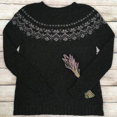 Pullover knitted in DROPS Rosewood pattern with lavender flowers