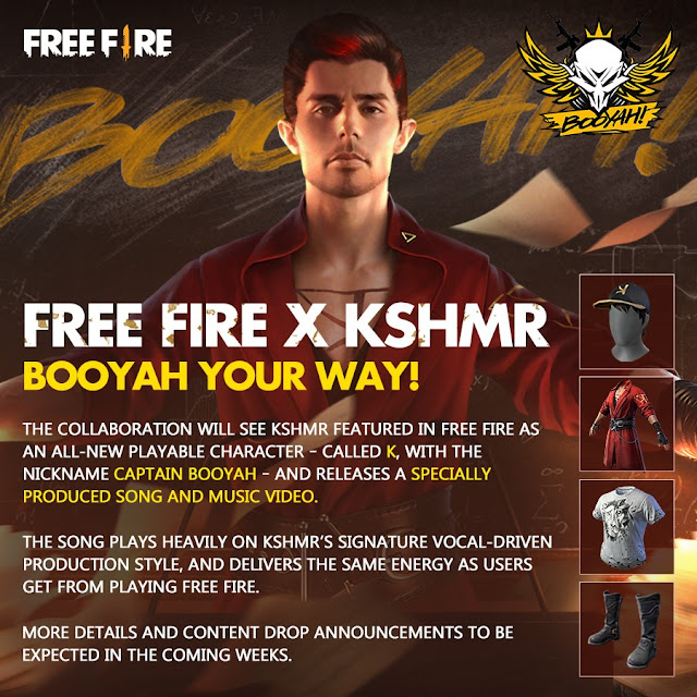 Free Fire new collaboration with popular Dj and Rapper KSHMR named as Captain Booyah