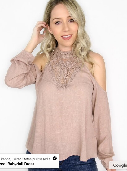 Madison and Mallory EMBROIDERED HIGH NECK COLD SHOULDER TOP