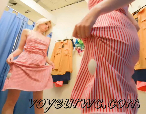 SpyCam 2645-2654 (Shopping Mall changing room. Hidden cam - Girl trying on swimsuits and dresses)
