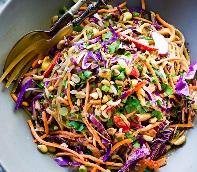 Thai Noodle Salad with the BEST EVER Peanut Sauce #vegan #glutenfree