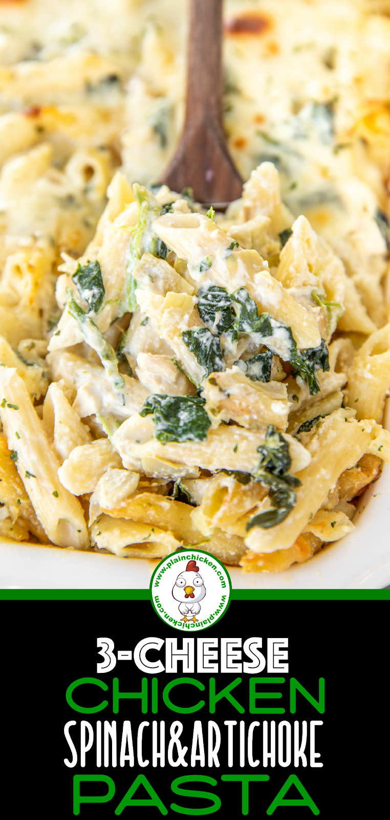 spoonful of chicken and spinach pasta