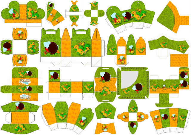 Dinosaurs Party: Free Printable Boxes.