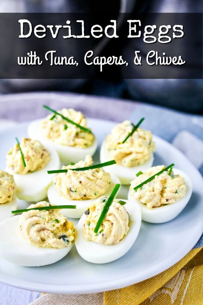 These deviled eggs with tuna, capers, and chives are perfect for an appetizer or snack.