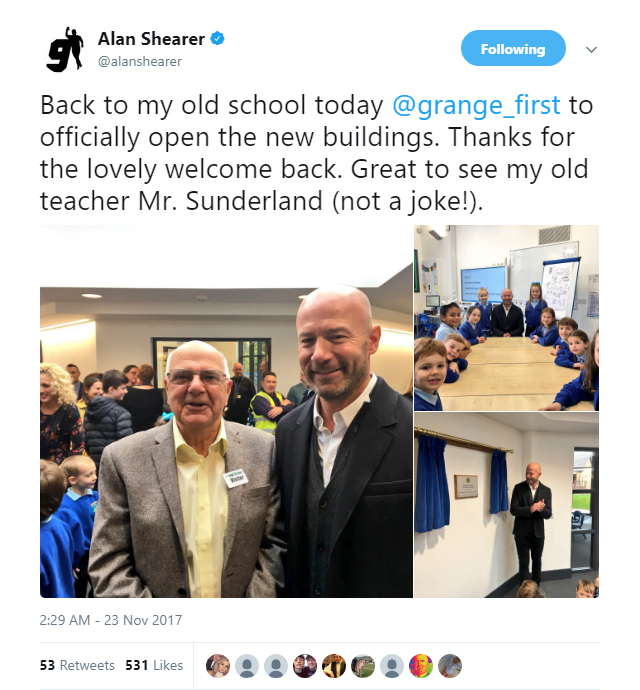 Alan Shearer meets up with his former sports teacher Graham Sunderland
