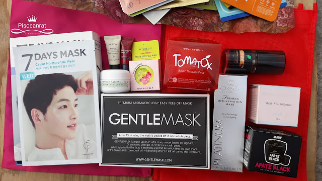 Forencos 7 Days Mask, Aveda Intensive Hydrating, Mario Badescu Super Collagen, L'Oreal Revitalift, Half Moon Eyes, Tony Moly Tomatox, Gentlemask, Grace Cosmetics Firming Rejuventaion, Zenutrients Coco Honey, the Naim Multi Vital 10, Apate Black.