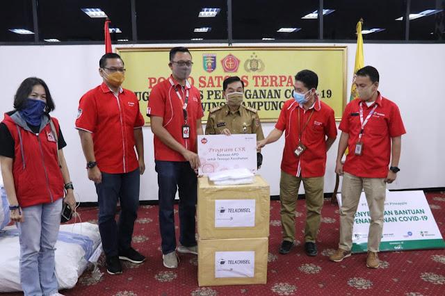 Gugus Tugas Covid-19 Provinsi Lampung Terima Bantuan Dari PT GGP, PT Telkomsel dan Dinas PSDA