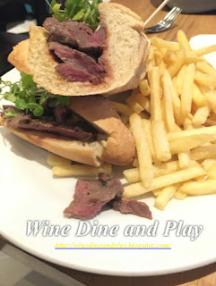 The steak sandwich with french fries at the Huxley's Restaurant at London's Heathrow Airport Terminal 5