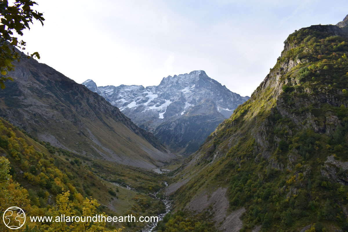 A look back at Le Sirac mountain after hiking in the Valgaudemar Valley of the Ecrins National Park, Alps of France