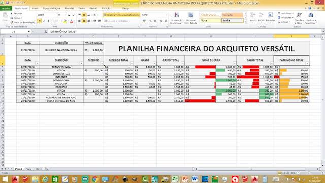 Planilha Financeira do Arquiteto Versátil