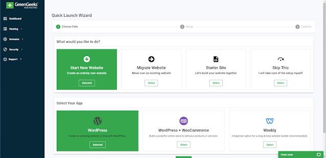 create a wordpress blog from Greengeeks