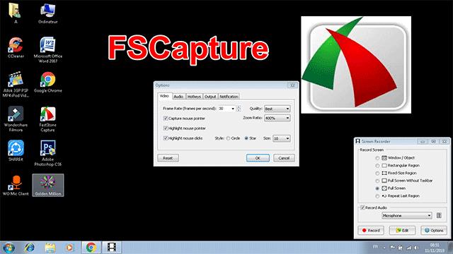 FSCapture الافضل لتصوير وتسجيل سطح المكتب صوت وصورة