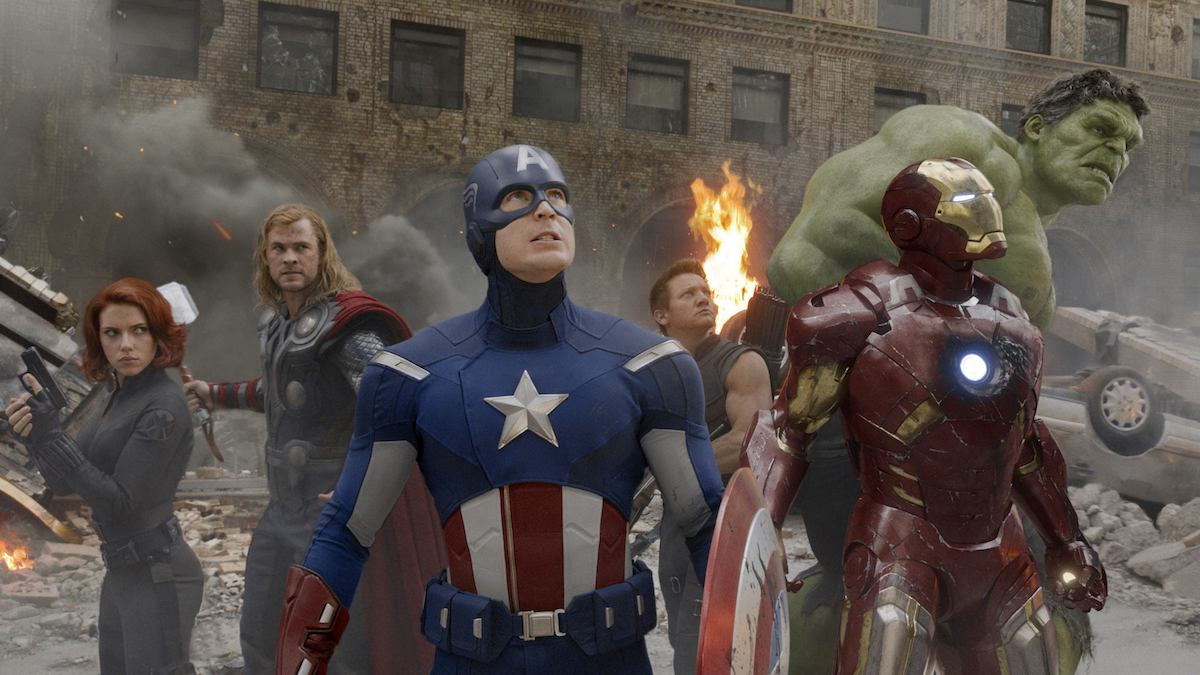 Black Widow, Thor, Captain Amrica, Hawkeye, Iron Man, and Hulk in Avengers film still, at the ready, scanning for threats around or above them