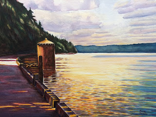 watercolor of walkway to Owen Beach and Round House at Point Defiance Park, Tacoma, WA, received Tacoma Mayor's Award at Tahoma Center Gallery, 2018, copyright Anne Doane, 2018