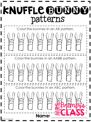Full day sub no prep lesson plans for PreK - Kindergarten. Activities are based on the book Knuffle Bunny. Just add the book and you're all set! #subplans #kindergarten #knufflebunny #noprep #teachingresources