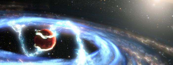 hubble observa exoplaneta se alimentando de gás e poeira