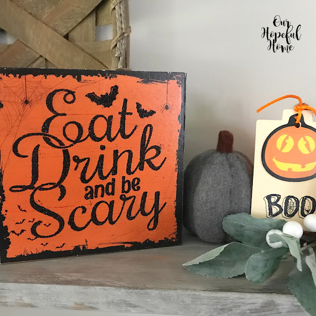 black orange wooden Eat Drink And Be Scary Halloween sign