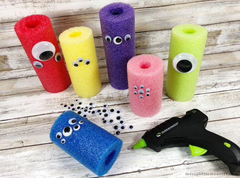 Add eyes to pool noodle monster craft