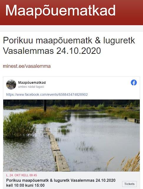 Porikuu maapõuematk & luguretk Vasalemmas 24.10.2020