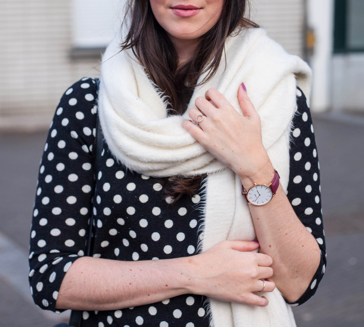 polkadot top, oversized scarf, burgundy Cluse watch