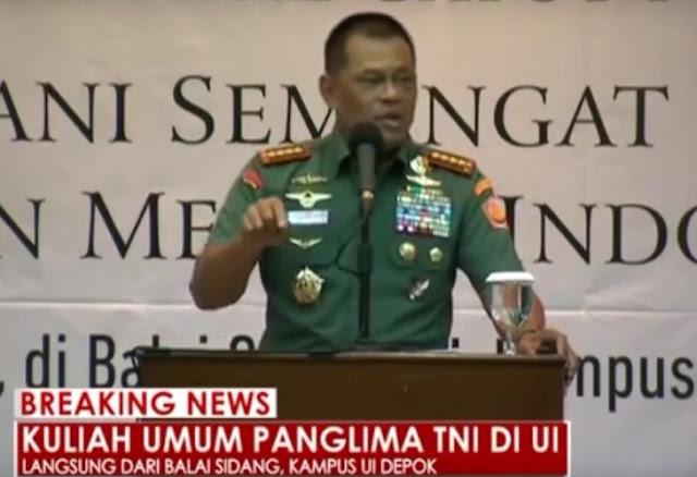 Jenderal Gatot memberikan kuliah umum di UI, 16 Nov 2016