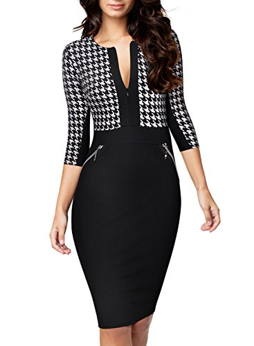 Houndstooth black sexy dress