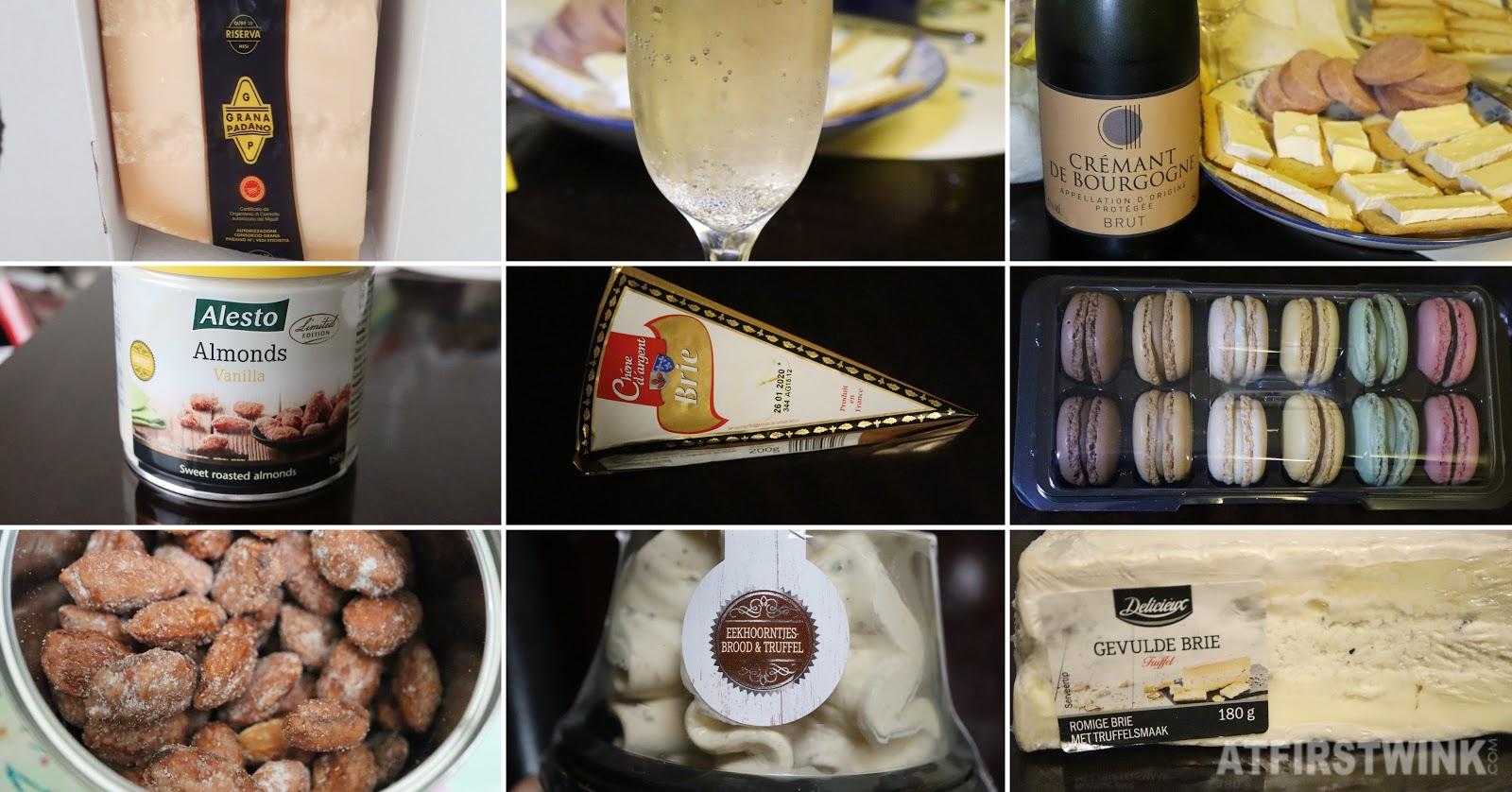 Lidl cremant de bourgogne brut brie toasts almonds grana padano cream cheese truffle macarons