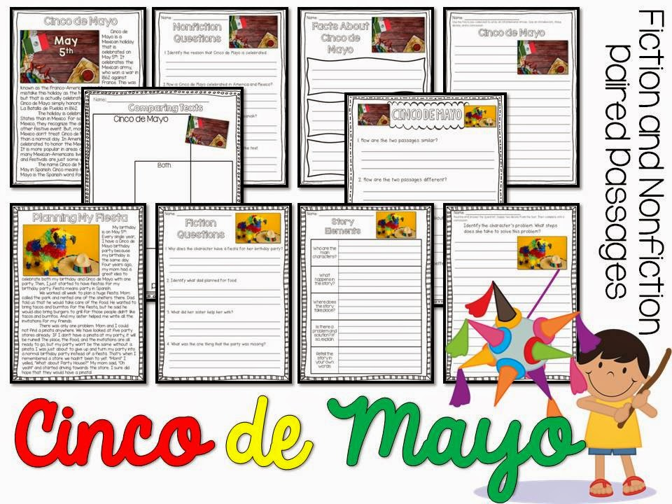 May fiction and nonfiction paired texts- all about Cinco de Mayo- paired passages with 5 themes for May