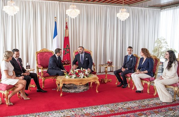 King Mohammed, Princess Lalla Salma and Prince Moulay Rachid, President Emmanuel Macron and Brigitte Macron at Rabat Airport