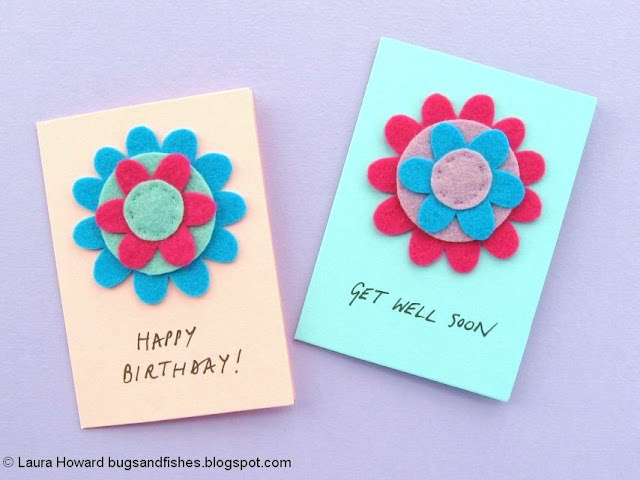 Felt Flower Notecards Tutorial - add your message