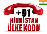 +91 Hindistan ülke telefon kodu