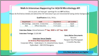 Sri Krishna Pharmaceuticals Ltd: Walk-In Interviews for AQA Microbiology -API