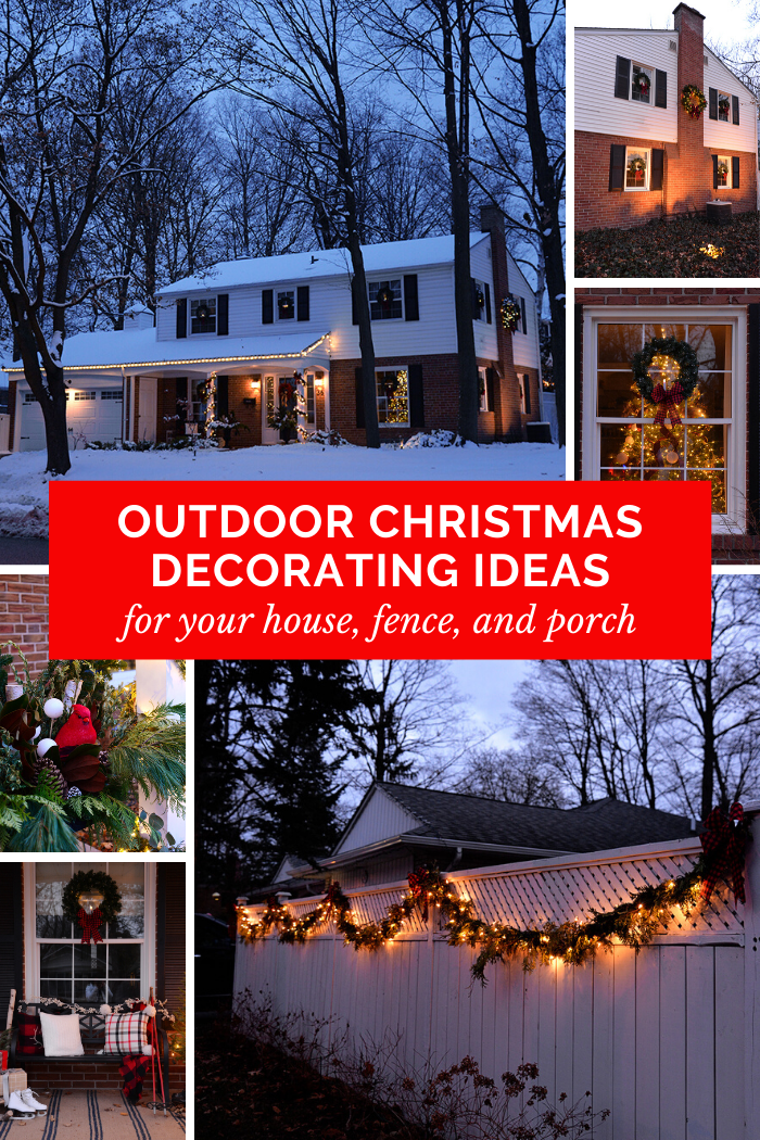 outdoor christmas decorating ideas for house, fence, porch. holiday outdoor decorations. christmas decorating ideas for front porch.