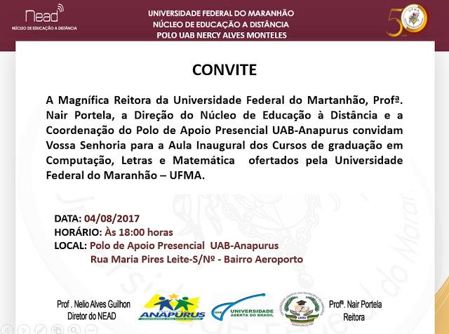 Reitoria da UFMA  convida a população para aula inaugural de cursos de graduação à distância no município de Anapurus