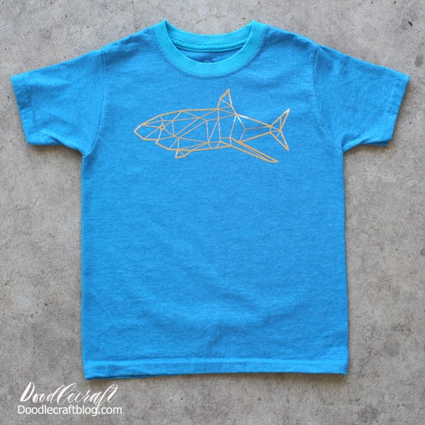 geometric gold iron on vinyl shark shirt