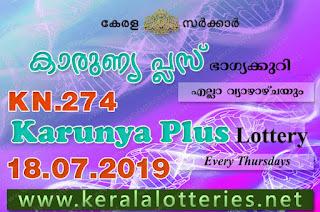 Kerala Lottery Results 18-07-2019 Karunya Plus KN-274 Lottery Result keralalotteries.net