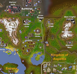 Excerpt from official RuneScape map, showing Taverley, Burthorpe and Falador
